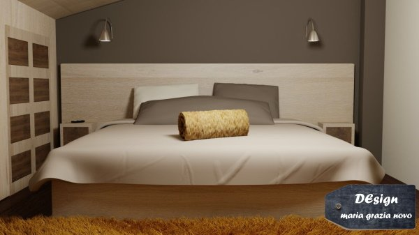 render componenti in legno rovere sbiancato testiera letto