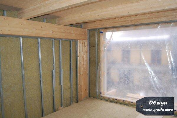 applicazione isolamento a cappotto interno in fibra minerale e muri divisori in cartongesso