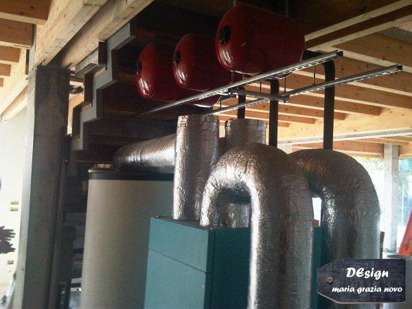 locale tecnico inserito nel sottoscala, pompa di calore aria/acqua con ventilazione meccanica forzata