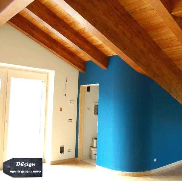 piano primo soggiorno con tetto a vista